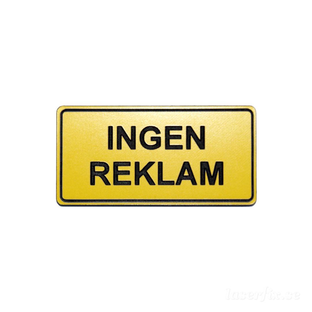 Brevlådeskylt, INGEN REKLAM, 40×20 mm, gul/svart