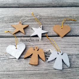Hängdekorationer i trä, 6 st, Hjärtan, Stjärnor, Änglar