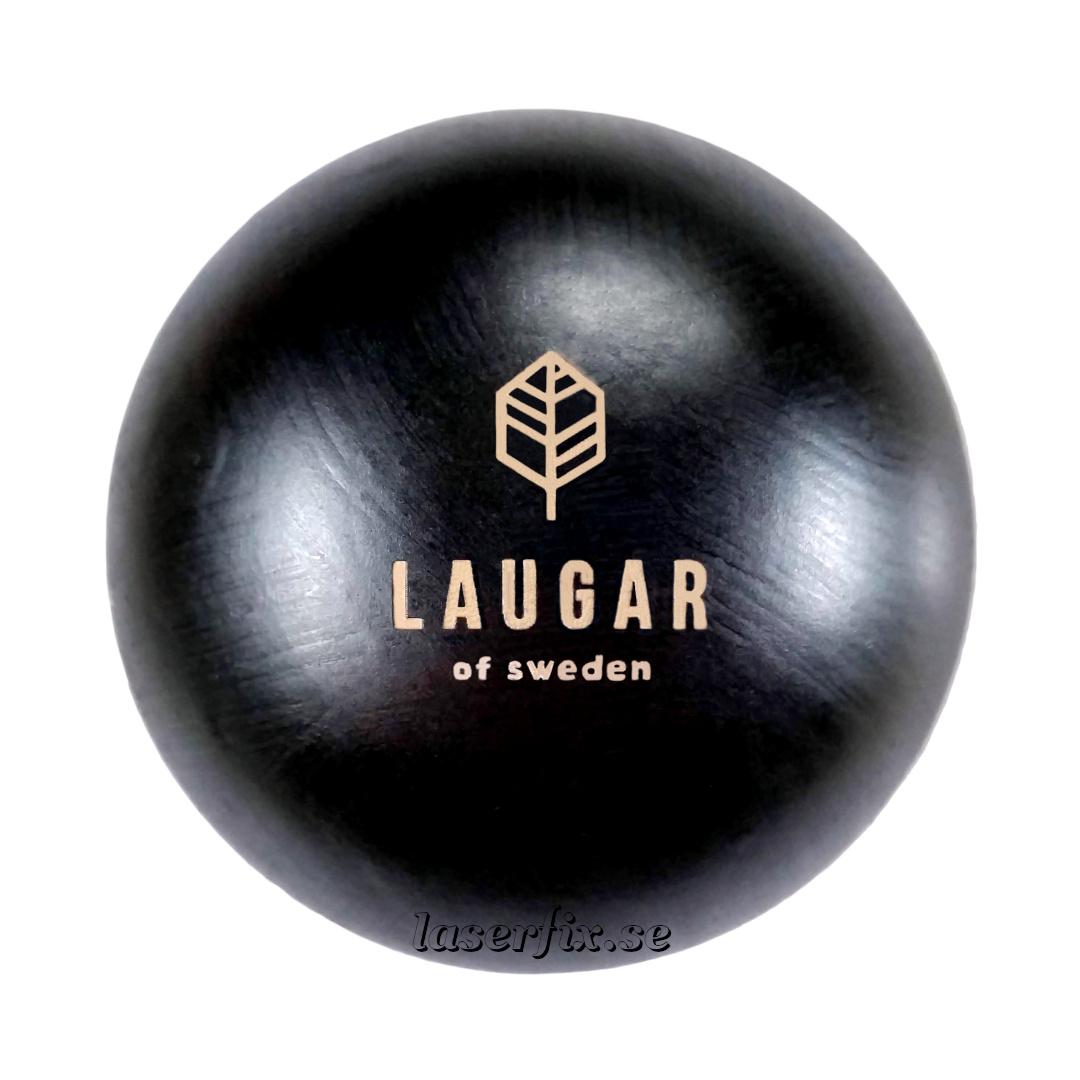 Lasergraverad logotype på rakborstar från LAUGAR