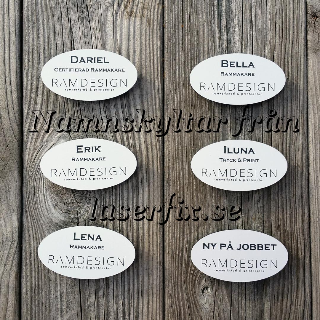 Ovala namnskyltar till Ramdesign