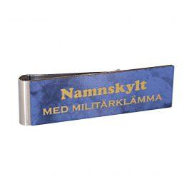 Namnskylt med militärklämma Blå marmor/Guld
