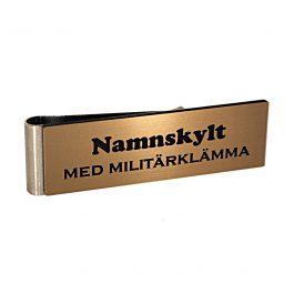 Namnskylt med militärklämma Borstat brons / Svart