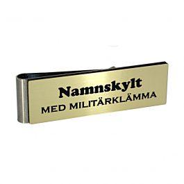 Namnskylt med militärklämma Borstat Guld / Svart
