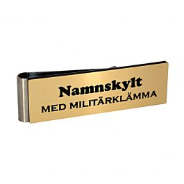 Namnskylt med militärklämma EU-guld / Svart