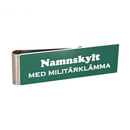 Namnskylt med militärklämma Grön/Vit