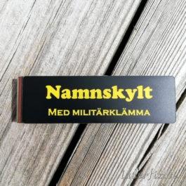 Namnskylt med militärklämma Svart/Gul