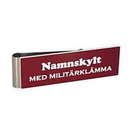 Namnskylt med militärklämma Vinröd/Vit