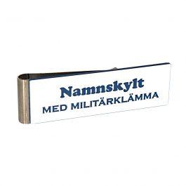 Namnskylt med militärklämma Vit/Blå