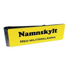Namnskylt med militärklämma - Gul/Svart