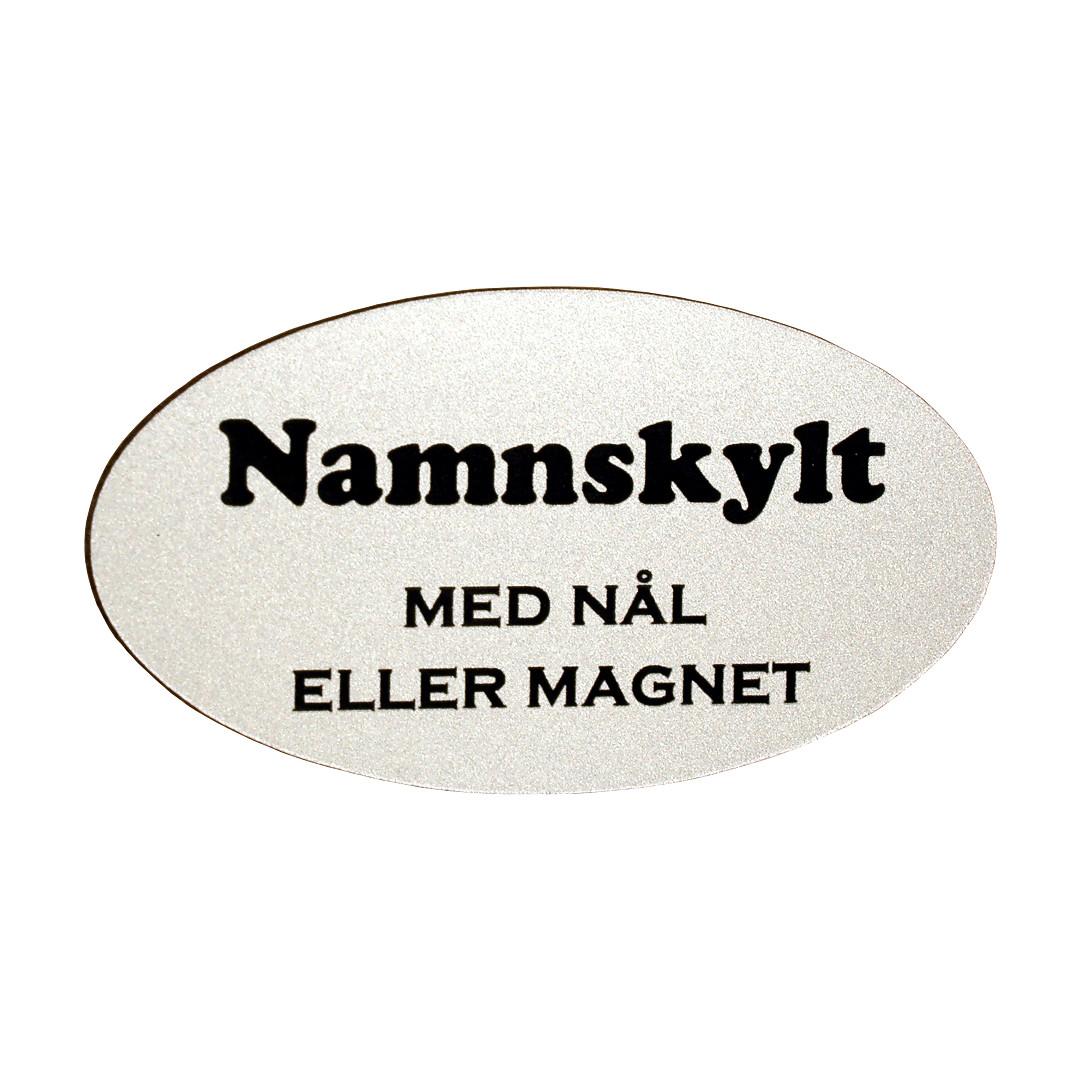 Namnskylt Oval Plast 65×35 Silvermatt / Svart