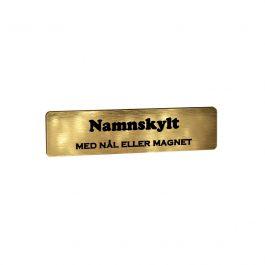 Namnskylt Rektangulär Plast Borstat Guld/Svart
