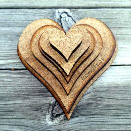 Utskurna hjärtan i 6 mm MDF (set med 6 storlekar)