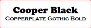 Exempel på typsnitt - Cooper Black och Copperplate Gothic Bold